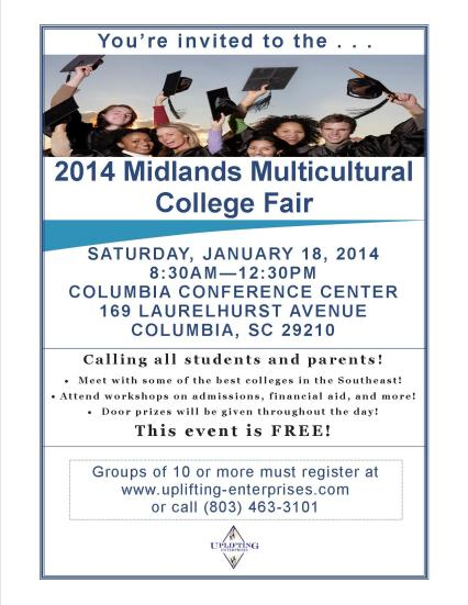 2014 Midlands Multicultural College Fair Flyer- group registration